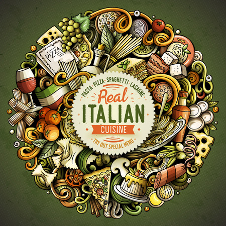 Cartoon vector doodles Italian Food illustration 向量圖像