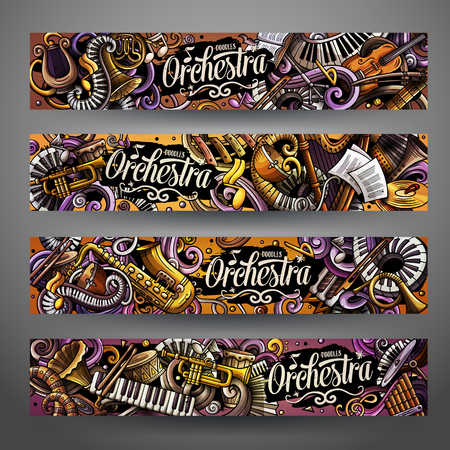 Cartoon cute colorful vector hand drawn doodles Classic music banners Archivio Fotografico - 112585393