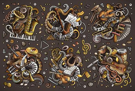 Colorful vector doodles cartoon set of classical musical instruments objects combinations