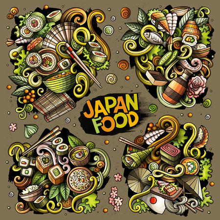 Colorful vector hand drawn doodles cartoon set of Japan food combinations of objects and elements Illustration