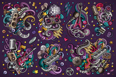 Colorful vector doodles cartoon set of disco music objects combinations