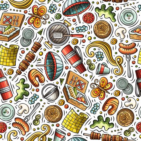 Cartoon cute hand drawn Picnic seamless pattern Ilustrace