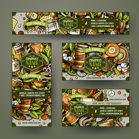 Corporate Identity vector templates set design with doodles hand drawn Tea time theme Фото со стока - 112585424
