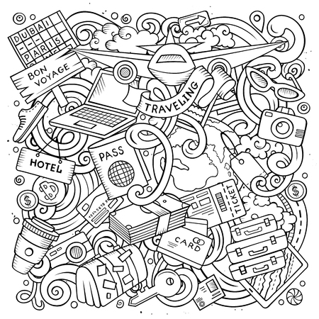 Cartoon vector doodles Travel illustration 일러스트