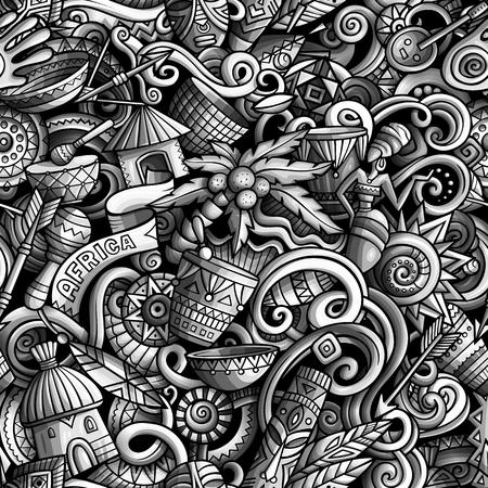Cartoon cute doodles hand drawn Africa seamless pattern Ilustração