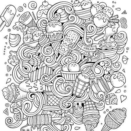 Cartoon hand-drawn doodles Ice Cream illustration Imagens - 102345011