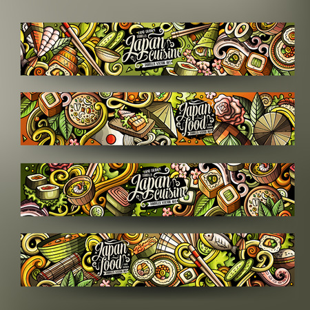 Cartoon doodles japanese food banners Illustration