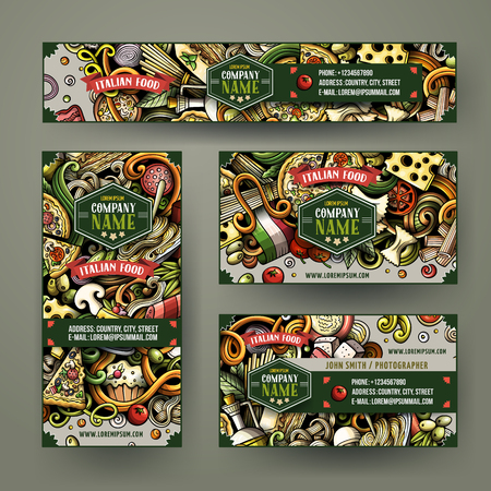 Corporate Identity vector templates set design with doodles hand drawn Italian food theme