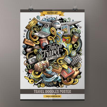 Cartoon hand drawn doodles. Traveling poster design Illustration