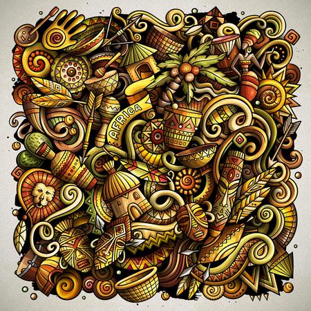 Cartoon vector doodles of Africa theme illustration