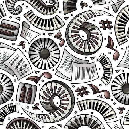 Cartoon hand-drawn Classic music seamless pattern Illustration