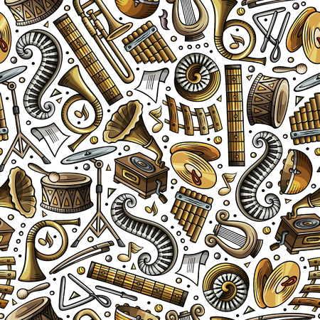 Cartoon hand-drawn of Classic music seamless pattern