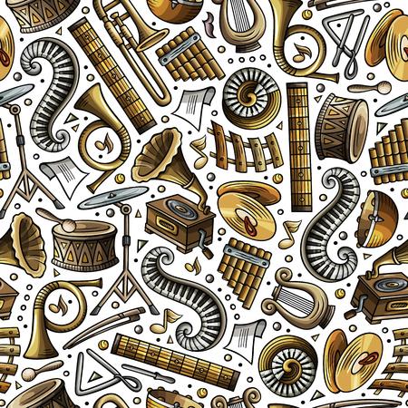 Cartoon hand-drawn of Classic music seamless pattern