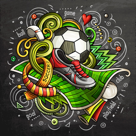 Soccer cartoon vector doodle illustration. Chalkboard design