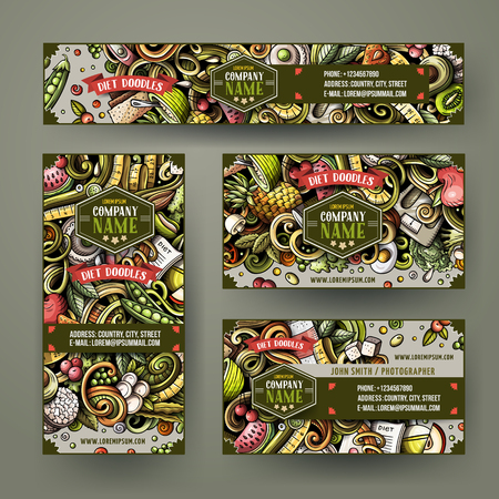 Corporate Identity vector templates set design with doodles hand drawn Diet food theme