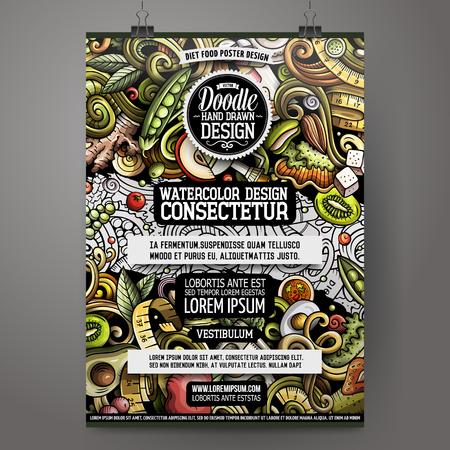 Cartoon hand drawn doodles Diet food poster design