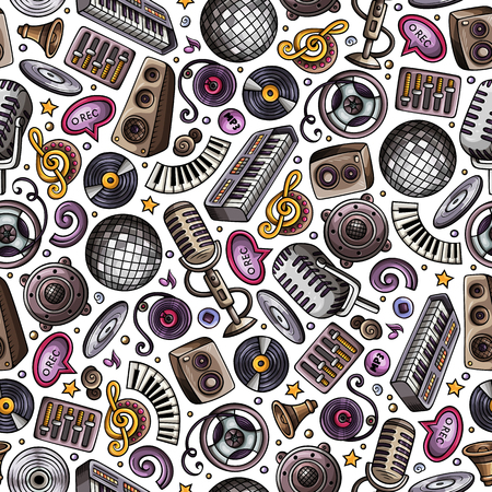 Cartoon hand-drawn Disco music seamless pattern  イラスト・ベクター素材