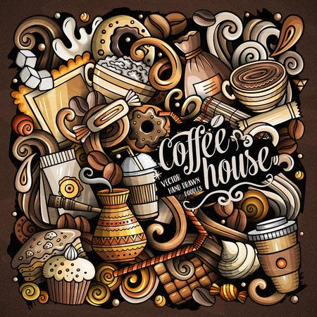Doodles di vettore del fumetto di un'illustrazione della casa di caffè