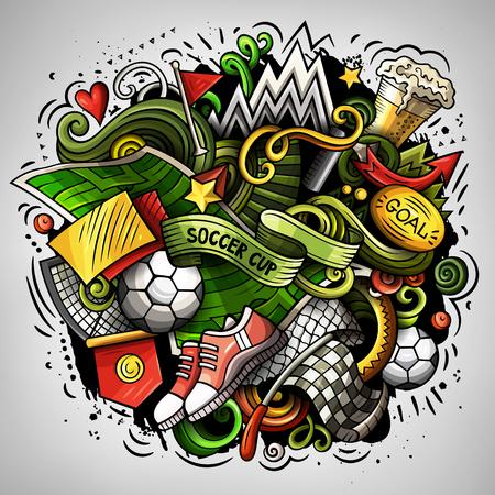 Cartoon vector doodles Football illustration Illustration