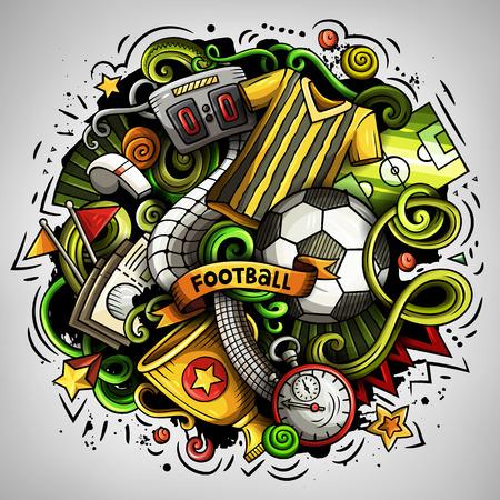 Cartoon vector doodles Football illustration Stock Illustratie