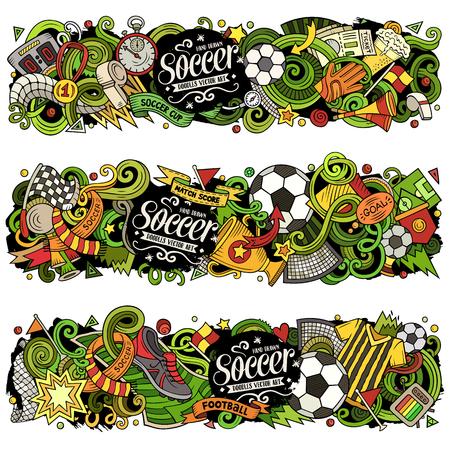 Cartoon vector doodles Football banners compositions Stock Illustratie