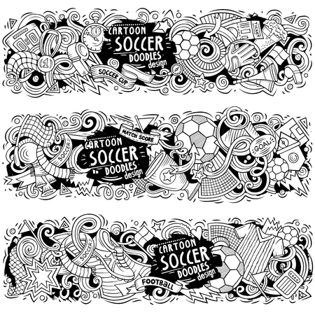 Cartoon vector doodles Football banners compositions Stock Illustratie