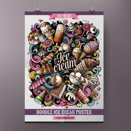 Cartoon hand drawn doodles Ice cream poster design template