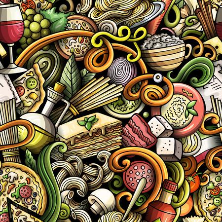 Cartoon cute doodles of a Italian Food seamless pattern