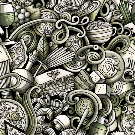 Cartoon cute doodles hand drawn Italian Food seamless pattern Иллюстрация