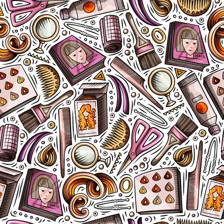 Cartoon hand-drawn Hair salon seamless pattern