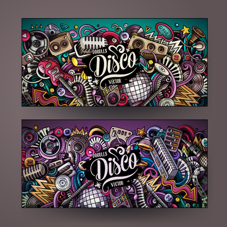 Cartoon cute colorful vector hand drawn doodles of a Disco music banners theme