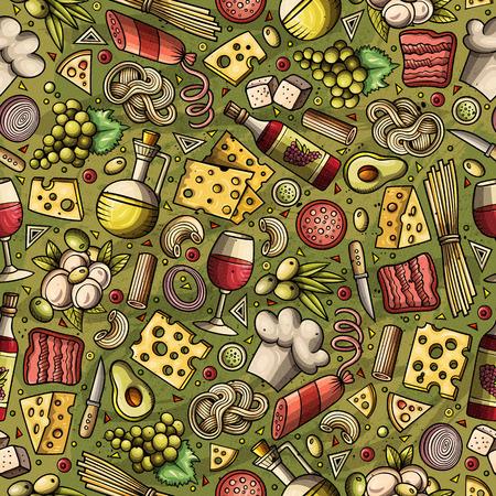 Cartoon cute hand drawn Italian food seamless pattern. Иллюстрация