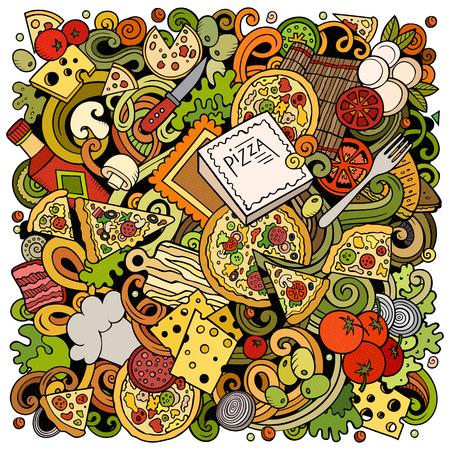 Cartoon vector doodles of a Pizza illustration
