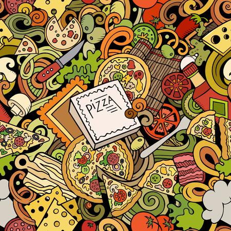 Cartoon cute doodles hand drawn Pizza seamless pattern