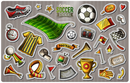 Set of Soccer cartoon stickers