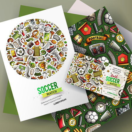 Cartoon vector doodles Football corporate identity set