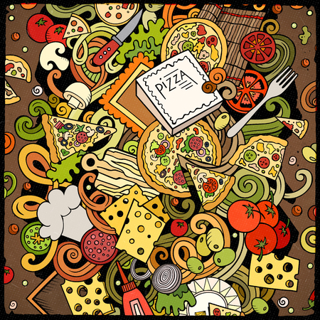 Cartoon vector doodles Pizza illustration