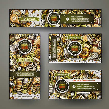 Corporate Identity vector templates set design with doodles hand drawn Tea time theme