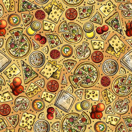 Cartoon cute hand drawn Pizza seamless pattern.