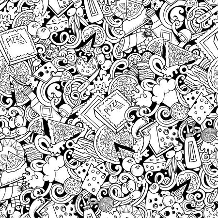 Cartoon cute doodles hand drawn of a Pizza seamless pattern Illustration