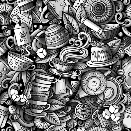 Cartoon cute doodles hand drawn Tea House seamless pattern Vectores
