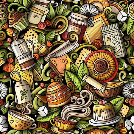 Cartoon cute doodles hand drawn Tea House seamless pattern Reklamní fotografie