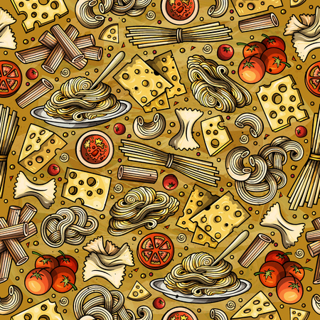 Cartoon cute hand drawn Italian food seamless pattern. 일러스트