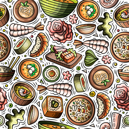 Cartoon cute hand drawn Japan food seamless pattern Vettoriali