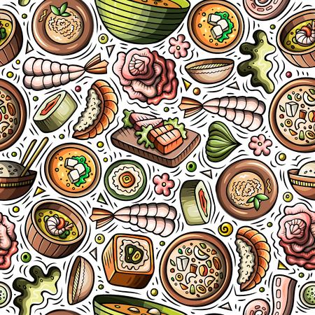 Cartoon cute hand drawn Japan food seamless pattern Vectores
