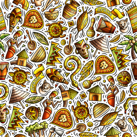 Cartoon cute hand drawn African seamless pattern Banque d'images - 103050407