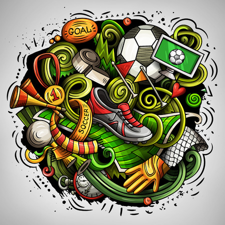 Cartoon vector doodles Football illustration Stock Photo