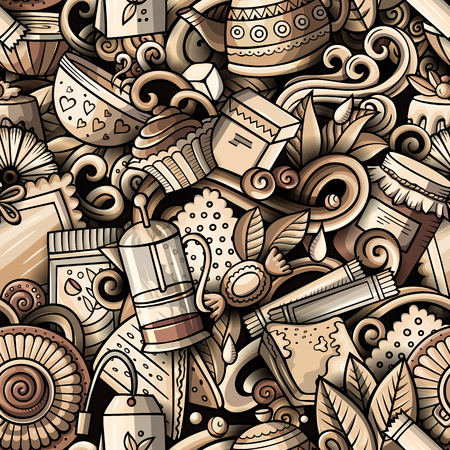 Cartoon cute doodles hand drawn Tea House seamless pattern Фото со стока