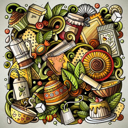 Cartoon vector doodles Tea time illustration Stock Photo