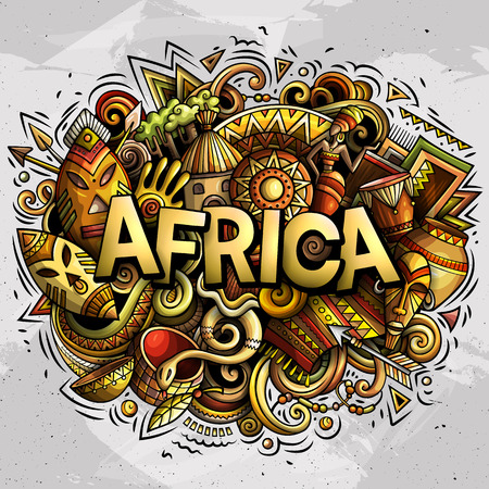 Cartoon cute doodles Africa word